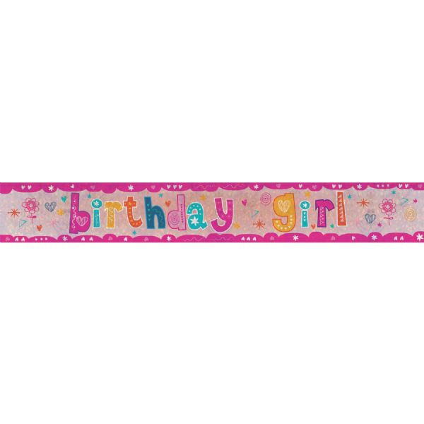 Holographic Birthday Girl Foil Banner